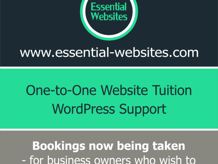 One-to-one website tuition – June bookings being taken now!